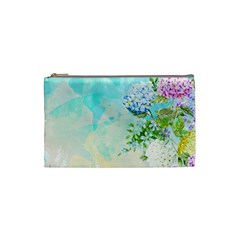Watercolor Fresh Flowery Background Cosmetic Bag (Small)