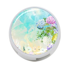 Watercolor Fresh Flowery Background 4-Port USB Hub (Two Sides)
