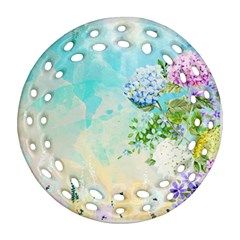 Watercolor Fresh Flowery Background Round Filigree Ornament (2Side)