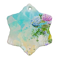Watercolor Fresh Flowery Background Snowflake Ornament (2 Side)