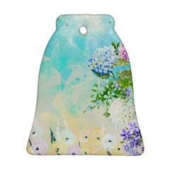 Watercolor Fresh Flowery Background Bell Ornament (2 Sides)