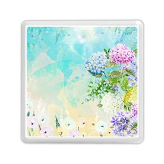 Watercolor Fresh Flowery Background Memory Card Reader (Square)