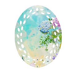 Watercolor Fresh Flowery Background Oval Filigree Ornament (2-Side)