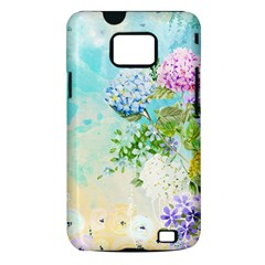 Watercolor Fresh Flowery Background Samsung Galaxy S II i9100 Hardshell Case (PC+Silicone)