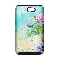 Watercolor Fresh Flowery Background Samsung Galaxy Note 2 Hardshell Case (PC+Silicone)