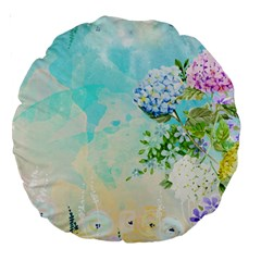 Watercolor Fresh Flowery Background Large 18  Premium Round Cushions