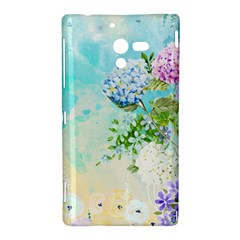 Watercolor Fresh Flowery Background Sony Xperia ZL (L35H)