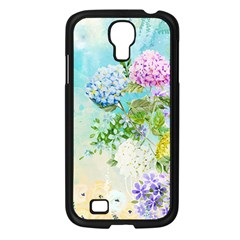 Watercolor Fresh Flowery Background Samsung Galaxy S4 I9500/ I9505 Case (Black)