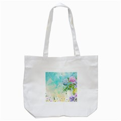 Watercolor Fresh Flowery Background Tote Bag (white)