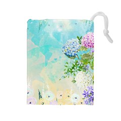 Watercolor Fresh Flowery Background Drawstring Pouches (Large)