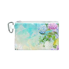 Watercolor Fresh Flowery Background Canvas Cosmetic Bag (S)