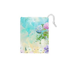 Watercolor Fresh Flowery Background Drawstring Pouches (XS)