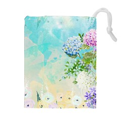 Watercolor Fresh Flowery Background Drawstring Pouches (Extra Large)