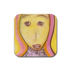 Portrait of Archangel Michael, Spiritual Chalks Drawing Rubber Square Coaster (4 pack)