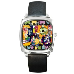 Beatles Square Leather Watch