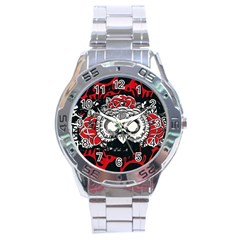 Dark Owl Square Stainless Steel Watch
