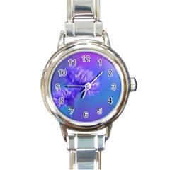 Purple Cornflower Floral  Round Italian Charm Watch