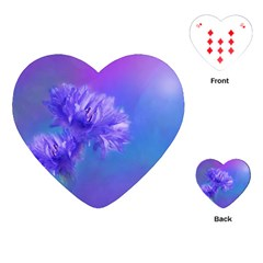 Purple Cornflower Floral  Playing Cards (Heart)