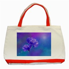 Purple Cornflower Floral  Classic Tote Bag (Red)
