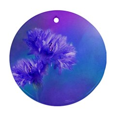 Purple Cornflower Floral  Round Ornament (Two Sides)