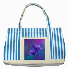 Flowers Cornflower Floral Chic Stylish Purple  Striped Blue Tote Bag