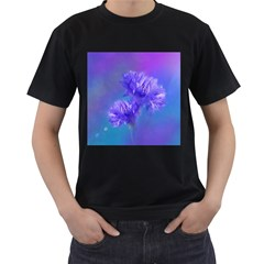 Flowers Cornflower Floral Chic Stylish Purple  Men s T-Shirt (Black)