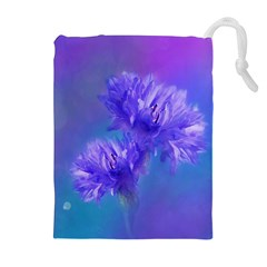 Flowers Cornflower Floral Chic Stylish Purple  Drawstring Pouches (Extra Large)