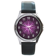 Pink Kaleidoscope Flower Mandala Art Round Metal Watch