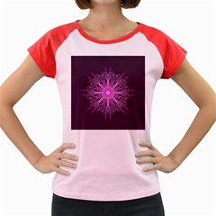 Pink Kaleidoscope Flower Mandala Art Women s Cap Sleeve T Shirt