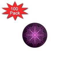 Pink Kaleidoscope Flower Mandala Art 1  Mini Magnets (100 Pack)