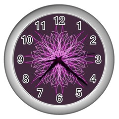 Pink Kaleidoscope Flower Mandala Art Wall Clocks (Silver)