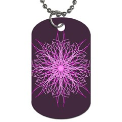 Pink Kaleidoscope Flower Mandala Art Dog Tag (one Side)