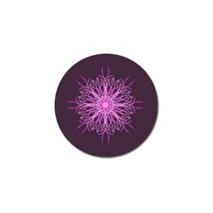 Pink Kaleidoscope Flower Mandala Art Golf Ball Marker