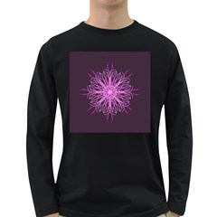 Pink Kaleidoscope Flower Mandala Art Long Sleeve Dark T-Shirts