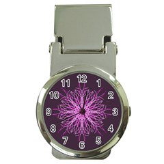 Pink Kaleidoscope Flower Mandala Art Money Clip Watches