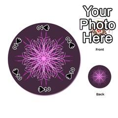 Pink Kaleidoscope Flower Mandala Art Playing Cards 54 (round)