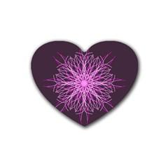Pink Kaleidoscope Flower Mandala Art Rubber Coaster (heart)