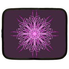 Pink Kaleidoscope Flower Mandala Art Netbook Case (large)