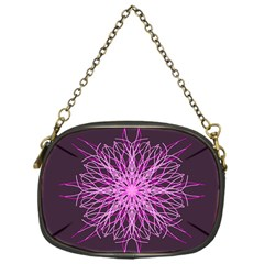 Pink Kaleidoscope Flower Mandala Art Chain Purses (one Side)