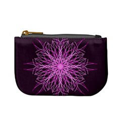 Pink Kaleidoscope Flower Mandala Art Mini Coin Purses