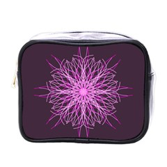 Pink Kaleidoscope Flower Mandala Art Mini Toiletries Bags