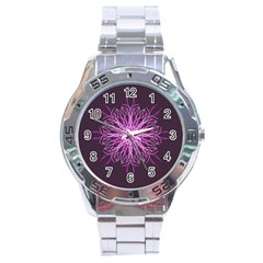 Pink Kaleidoscope Flower Mandala Art Stainless Steel Analogue Watch