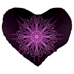 Pink Kaleidoscope Flower Mandala Art Large 19  Premium Heart Shape Cushions