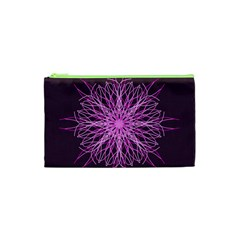 Pink Kaleidoscope Flower Mandala Art Cosmetic Bag (xs)