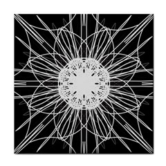 Black And White Flower Mandala Art Kaleidoscope Tile Coasters