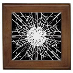 Black And White Flower Mandala Art Kaleidoscope Framed Tiles
