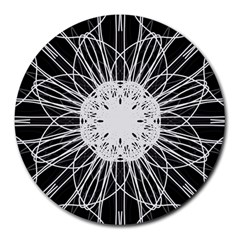 Black And White Flower Mandala Art Kaleidoscope Round Mousepads