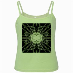 Black And White Flower Mandala Art Kaleidoscope Green Spaghetti Tank