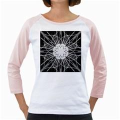 Black And White Flower Mandala Art Kaleidoscope Girly Raglans