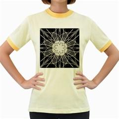 Black And White Flower Mandala Art Kaleidoscope Women s Fitted Ringer T-Shirts